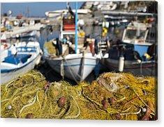 Greek Fishing Harbour Acrylic Print by Mike Santis