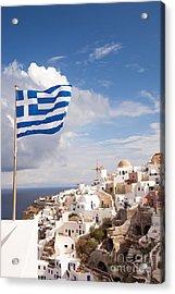 Greek Flag Waving On Oia - Santorini - Greece Acrylic Print