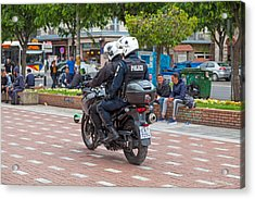Greek Motorcycle Police Officers Acrylic Print by Gwengoat