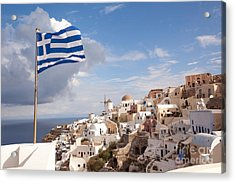 Greek National Flag Waving Over Oia - Santorini - Gr Acrylic Print
