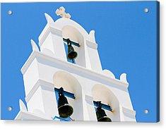Greek Orthodox Church Bells On Santorini Acrylic Print by Laura Palmer