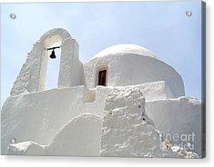 Greek Orthodox Church- Santorini Acrylic Print by Sarah Christian