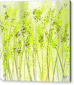Green Abstract Art Acrylic Print by Lourry Legarde