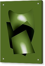 Green Abstract Geometry Acrylic Print by Mario Perez