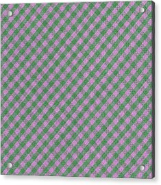 Green And Pink Checkered Diagonal Tablecloth Cloth Background Acrylic Print by Keith Webber Jr
