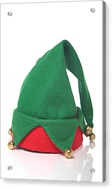 Green And Red Elf Hat With Bells With A White Background Acrylic Print by Sadeugra