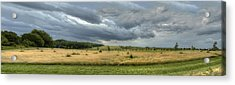 Green And Yellow Meadows At A Golfing Club In Kashubia Of Poland Acrylic Print