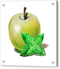 Acrylic Print featuring the painting Green Apple And Mint by Irina Sztukowski