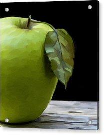 Acrylic Print featuring the digital art Green Apple by Nina Bradica