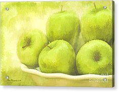 Green Apples Acrylic Print by Linda Blair