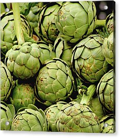 Green Artichokes Acrylic Print by Art Block Collections