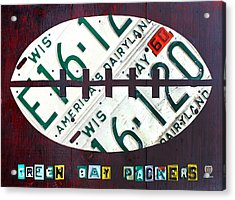 Green Bay Packers Football License Plate Art Acrylic Print by Design Turnpike