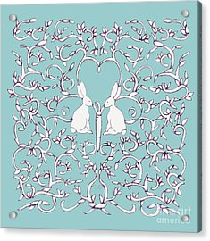 Acrylic Print featuring the drawing Green Blue Rabbits Leaves by Donna Huntriss