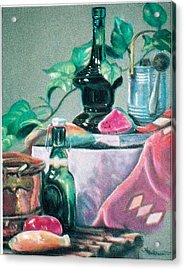Green Bottles And Copper Acrylic Print