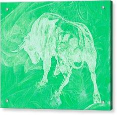 Green Bull Negative Acrylic Print
