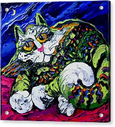 Green Cat Acrylic Print by Isabelle Gervais