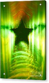 Green Christmas Star Acrylic Print by Gaspar Avila