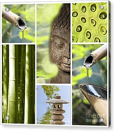 Green Collage Acrylic Print by Delphimages Photo Creations