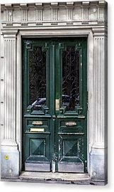 Green Door In Paris Acrylic Print by Georgia Fowler