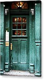 Green Door In The Village Acrylic Print by John Rizzuto