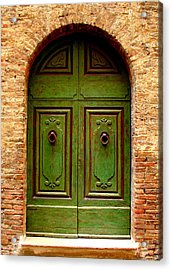 Green Door Acrylic Print by Ramona Johnston
