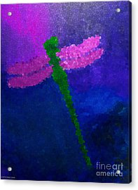 Acrylic Print featuring the painting Green Dragonfly by Anita Lewis