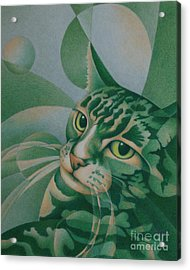 Acrylic Print featuring the painting Green Feline Geometry by Pamela Clements