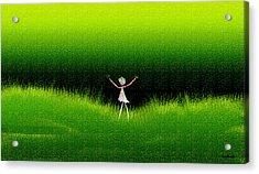Green Field Acrylic Print by Asok Mukhopadhyay