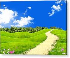 Green Field Acrylic Print by Boon Mee