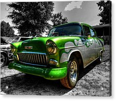 Green Flame '55 Chevy 001 Acrylic Print by Lance Vaughn