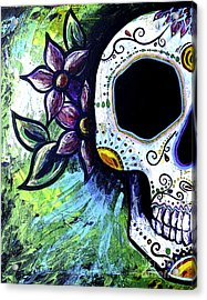 Green Flower Skull Acrylic Print