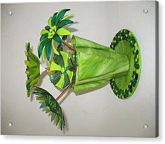 Green Flowers Acrylic Print by Steven Schramek