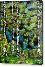 Green Forest Acrylic Print by Valerie Ornstein