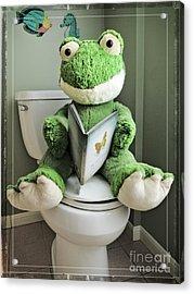 Green Frog Potty Training - Photo Art Acrylic Print