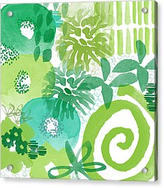 Green Garden- Abstract Watercolor Painting Acrylic Print by Linda Woods