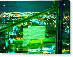 Green Geodeck Neon In Dallas  Acrylic Print by ARTography by Pamela Smale Williams