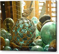 Green Glass Japanese Glass Floats Acrylic Print