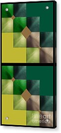 Acrylic Print featuring the digital art Green Glow Check by Ann Calvo