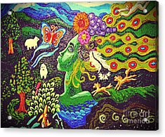 Green Goddess With Horses Acrylic Print