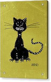 Green Grunge Evil Black Cat Acrylic Print