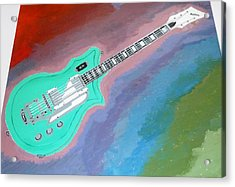Acrylic Print featuring the painting Green Guitar by Magdalena Frohnsdorff