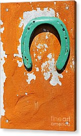 Green Horseshoe Decorating Orange Wall Acrylic Print by Sami Sarkis