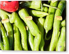 Green Jalpeno Peppers Acrylic Print by Tom Gowanlock