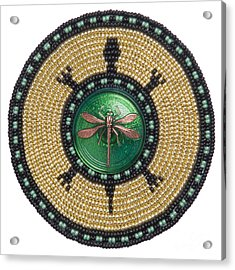 Green Jewel Dragonfly Turtle Acrylic Print