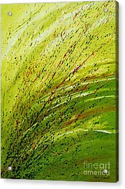 Acrylic Print featuring the painting Green Landscape - Abstract Art  by Ismeta Gruenwald