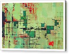 Green Lattice Abstract Art Print Acrylic Print by Karyn Lewis Bonfiglio