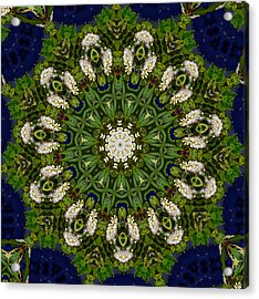 Green Leaf White Flower Mandala Acrylic Print