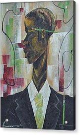 Green Light Green Stripe Acrylic Print by Hasaan Kirkland