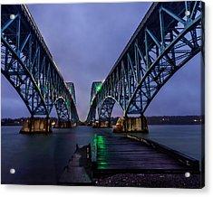 Green Light On The Pier Below Twin Spans On A Misty Dawn Acrylic Print