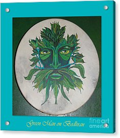 Acrylic Print featuring the painting Green Man On Bodhran by Linda Prewer
